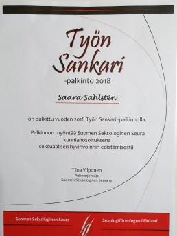 työn sankari 2018 suomen seksologinen seura saara sahlsten